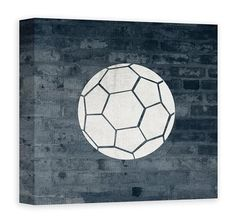 Soccer ball teen wall art design, home decor wall art for teens room or recreation room,in 17 colors, patterns, and custom backgrounds. Personalize with custom