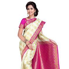Off white and Fuchsia Art Kanchipuram Silk Saree with Blouse