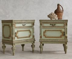 Vintage Shabby Sea Green Nightstands Side Tables Pair-antique, French, night, stand, bergere, settee, crackle, gilt, gold, hand carved, painted,