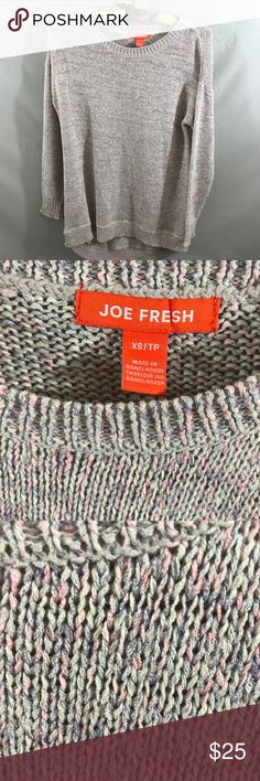Joe Fresh crew neck sweater size XS Joe Fresh crew neck sweater. In excellent condition. No pills or snags. Size XS. Length 29, bust 22.  76 percent cotton, 24 percent polyester. Thanks for looking! Happy Poshing! Joe Fresh Sweaters Crew & Scoop Necks