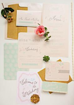 Light And Modern Coral, Mint And Gold Wedding Inspirational Shoot | Weddingomania