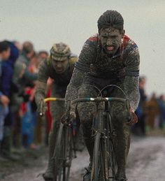 Sean Kelly digging deep in the immortal Paris Roubaix. They don't call it Hell of the North for nothing.
