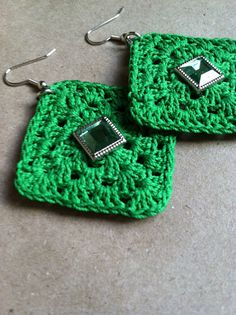 Studded Crochet Earrings  Emerald Green by CsqDesigns on Etsy, $20.00
