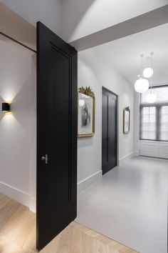 Dark Doors, Flooring For Stairs, Black Interior Doors, Boutique Homes, Modern House Plans, Internal Doors, Classic House, Home Decor Kitchen, Colorful Interiors