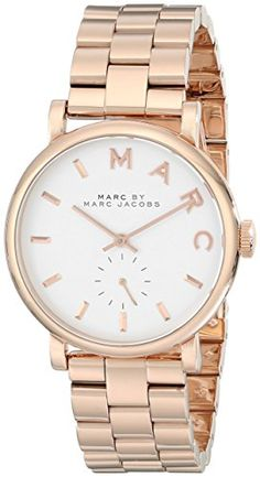 Marc By Marc Women's MBM3244 Rose-Gold Stainless-Steel Swiss Quartz Watch with White Dial