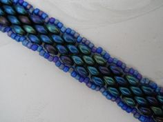 Shades of Blue -- bracelet with twin beads, peyote stitch,  $28