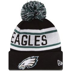 Mens Philadelphia Eagles New Era Black Biggest Fan Redux Knit Beanie ($25) ❤ liked on Polyvore featuring men's fashion, men's accessories, men's hats, mens beanie hats, mens beanie caps, mens knit hat and mens beanie