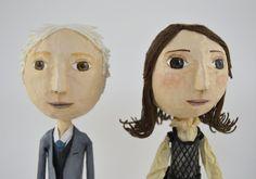 Couple of Paper Mache Dolls  OOAK  Unique and by JarilloArtCraft