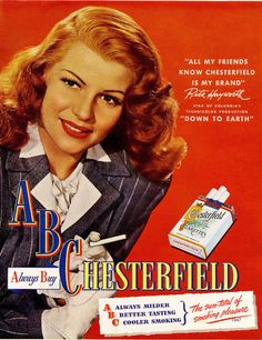 Rita Hayworth for Chesterfield Cigarettes; Vintage ad