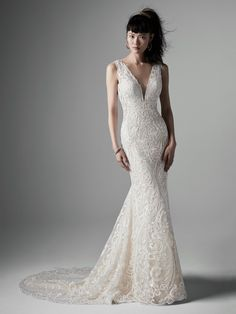 Sottero and Midgley - BRYCE, For when there's no need to complicate lace—say hello to streamlined chic in this lace fit-and-flare wedding dress.