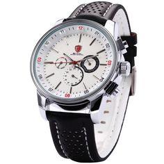 SHARK Mens Swiss Movement 6 Hands Date 24Hrs White Dial Sport Quartz Watch + Box SH093