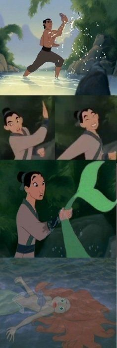 this made me laugh more than it should have, probably because I wasn't expecting it. mulan and ariel