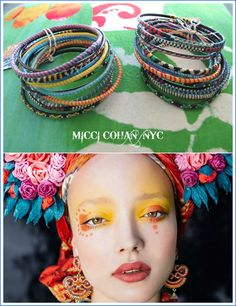 West African Recycled Rubber and Straw Bracelets  by MicciCohanNYC
