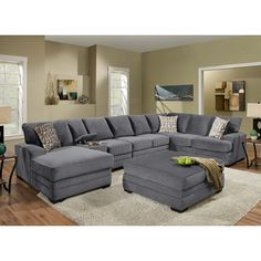 Odessa Waffle Suede Reversible Sectional Sofa With Ottoman (Grey), Poundex
