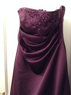 0c6744c32107d David s Bridal Plum Satin F11165 Formal Bridesmaid Mob Dress Size 10 (M)  59% off retail
