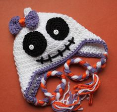 Crocheted Cute Ghost  / Skeleton Halloween  Hat with bow  for Girl Newborn - 5T - Made To Order. $26.00, via Etsy.