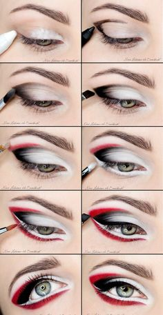 Bold Eye Makeup Tutorial make up products 22 Pretty Eye Makeup Ideas for Summer Red And Black Eye Makeup, Bold Eye Makeup, Pretty Eye Makeup, Colorful Eye Makeup, Amazing Makeup, Pretty Eyes, Black Eyeliner, Black And White Makeup, White Eyeshadow