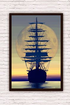 Nautical Pirate Ship Sailing into the Sunset w/ Moon by SargentIllustration, $30.00