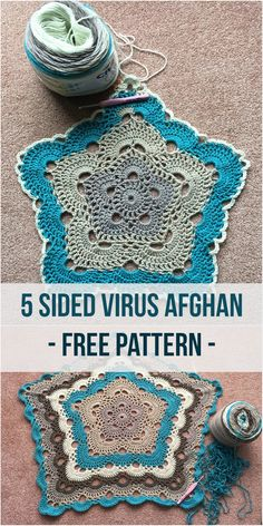 5 Sided Virus Crochet Afghan is one of the most stunning crochet project ever! If you are already familiar with the virus afghan with 4 sides than you will be ready to go. If not, no worries, you just…More Crochet Afghans, Motifs Afghans, Crochet Motifs, Tunisian Crochet, Afghan Crochet Patterns, Crochet Squares, Crochet Doilies, Crochet Blankets, Granny Squares