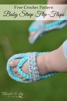 Crochet Baby Girl Free Crochet Pattern - Get the pattern for these sweet baby strap flip flops, adorable for any occasion. {Pattern by Whistle and Ivy} - FREE Crochet Pattern - Crochet Baby Flip-Flops Crochet Baby Sandals, Baby Girl Crochet, Crochet Shoes, Crochet Slippers, Baby Blanket Crochet, Crochet Clothes, Booties Crochet, Crochet Poncho, Crochet Granny