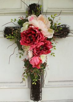 Floral Cross Wreath Decor 21 tall by on Etsy.this would be great for Easter. Wreath Crafts, Diy Wreath, Door Wreaths, Wreath Ideas, Funeral Flowers, Wedding Flowers, Wedding Rings, Floral Wedding, Wedding Dress