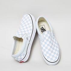822da5e14d1f Baby Blue White Checkerboard Vans White Slip On Vans