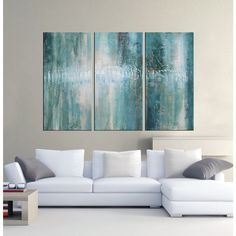 'Abstract 625' Hand-painted Oil Gallery-wrapped Canvas Art Set   Overstock.com Shopping - The Best Deals on Canvas