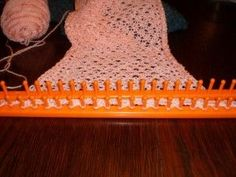 Loom knitting Diamond lace stitch