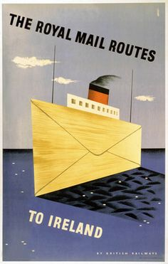 'The Royal Mail Routes to Ireland', BR(LMR) poster, 1952.