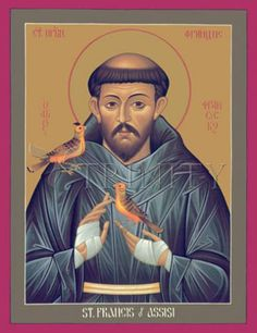 "St. Francis of Assisi | Catholic Christian Religious Art - Icon by Br. Robert Lentz, OFM - From your Trinity Stores crew, ""Here's to Franciscan St. Francis!"""