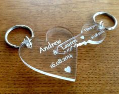 Personalised Valentines / Wedding Laser Cut Engraved Puzzle Piece Keyrings Gift…