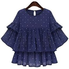 'Lucille' Blue Dotted Layered Sleeve Ruffle Top