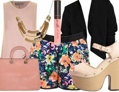 This outfit is perfect for a summer garden party or a birthday dinner date as it's casual and relaxed but still sophisticated with its wedge shoes, on trend kimono jacket and shift style pink top.