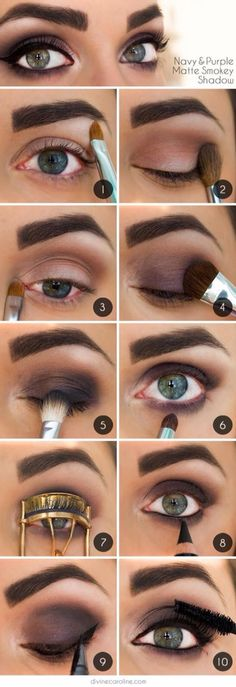Dark purple smoky eye for green eyes