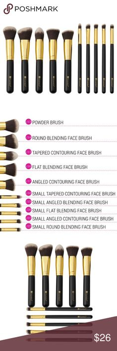 BH Cosmetics 10pc. Sculpt and Blend Brush Set 10-piece Sculpt and Blend Brush Set is the ultimate toolkit for foolproof contouring, shading and illuminating your features. The elegant black and gold, dual-fiber collection --specially crafted for applying liquids, creams and powders-- includes five face brushes and five detailing brushes, making it easy to define your jawline, slim your nose, and create killer cheekbones, as well as highlight around eyes, fake fuller lips, and blend for a…