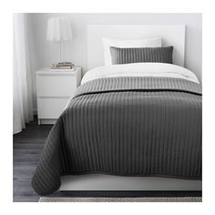 IKEA - KARIT, Bedspread and cushion cover, Twin/Full (Double), , Extra soft since the bedspread and cushion cover are quilted.You can easily vary the look in your bedroom with this bedspread, because it has contrasting sides.The cushion cover is easy to remove since it has a concealed zipper.Packaging designed as a storage bag. Easy to protect, transport and store the product.
