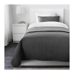 IKEA - KARIT, Copriletto e fodera per cuscino, 180x280/40x65 cm, , Il copriletto e la fodera del cuscino sono molto morbidi, grazie all'imbottitura.Puoi rinnovare lo stile del tuo letto quando vuoi, poiché questo copriletto ha un lato diverso dall'altro.La fodera del cuscino è facile da togliere grazie alla cerniera nascosta.Facile da trasportare e conservare poiché la confezione è utilizzabile anche come custodia.