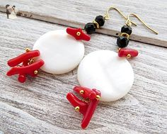 Red coral earrings, white mother of pearl earrings, black agate earrings, coin earrings, gemstone jewelry, summer jewelry - Wedding earings (*Amazon Partner-Link)