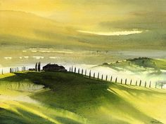 """""""Tuscan hills"""" Watercolor -Tuscany - one of the most beautiful places in the world. One day I will live there. Watercolor Landscape Paintings, Watercolor Artists, Watercolor Portraits, Landscape Art, Landscape Photography, Nature View, Monochrome, Beautiful Places In The World, Watercolours"""
