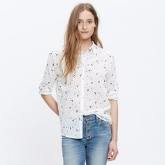 Our favorite oversized button-down shirt gets a lean makeover complete with three-quarter sleeves. Undeniably cool in a celestial fabric that combines printed stars with embroidered crescent moons.  <ul><li>True to size.</li><li>Cotton.</li><li>Machine wash.</li><li>Import.</li></ul>