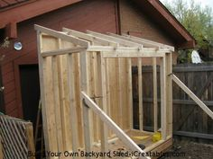 lean to shed rafters installed on shed walls More
