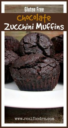 Gluten Free Chocolate Zucchini Muffins. Quick, easy, filled with zucchini! These are so good that we have had them for breakfast. Definitely a kid favorite! You can make this recipe into a cake or a loaf of bread too. realfoodrn.com #zucchinimuffins #zucchini