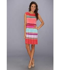 London Times Fit & Flare Striped Matte Jersey Dress Coral Combo - 6pm.com by danel