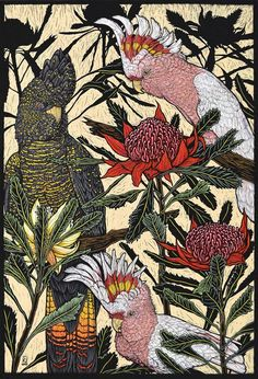 Cockatoos & waratah 76 x 57 Cm .     Edition of 50 Hand Coloured Linocut on Handmade Japanese paper $1,700