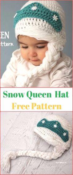 Original pattern Here: Crochet Snow Queen Hat Free Pattern Crochet Baby Blanket Beginner, Baby Knitting, Knitted Hats, Crochet Hats, Free Crochet, Crochet Flower Patterns, Hat Patterns, Crochet Christmas Hats, Queen Hat