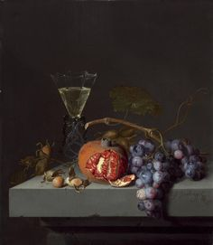 Jacob van Walscapelle (Dutch, Still Life with Fruit, 1675 Oil on panel, 40 x cm Juliet and Lee Folger/The Folger Fund National Gallery of Art Dutch Still Life, Baroque Painting, Still Life Fruit, Fruit Painting, Wine Painting, National Gallery Of Art, Dutch Painters, Painting Still Life, Caravaggio