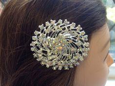 Bridal Hair Comb AB Rhinestones on silver by Eloquencebridal