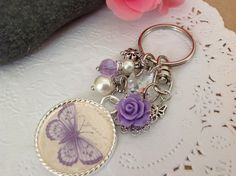 Bag Dangles or Keychain with Butterfly Pendant A by PrettySang,