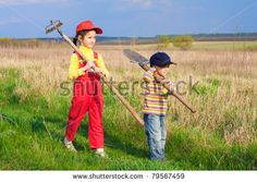 Two little children walking on field with garden tools by Sergiy Bykhunenko, via ShutterStock Little Children, War On Drugs, Light Of The World, What Is Life About, Walk On, Photo Editing, Blessed, Royalty Free Stock Photos, Southern Comfort
