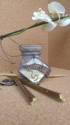 Ciondolo wire madreperla naturale in alluminio handemade free nichel